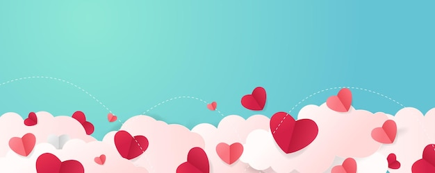 Valentijnsdag achtergrond met hartvormige wolk.