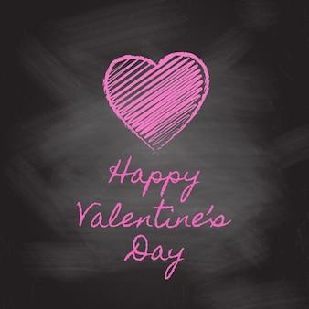 Valentijnsdag achtergrond met krijtbord hart en een tekst