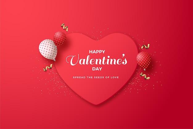 Valentijnsdag achtergrond met liefde bord en 3d-ballonnen.