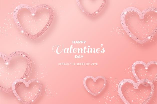 Valentijnsdag achtergrond met liefdeslijn en roze glitter.