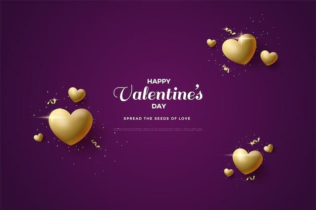 Valentijnsdag achtergrond met luxe gouden liefde ballonnen.