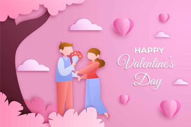 Valentijnsdag achtergrond met paar in papieren stijl