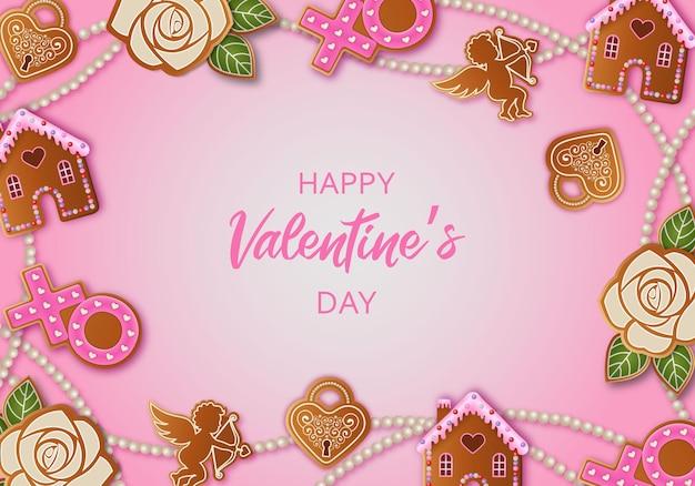 Valentijnsdag achtergrond met peperkoekkoekjes
