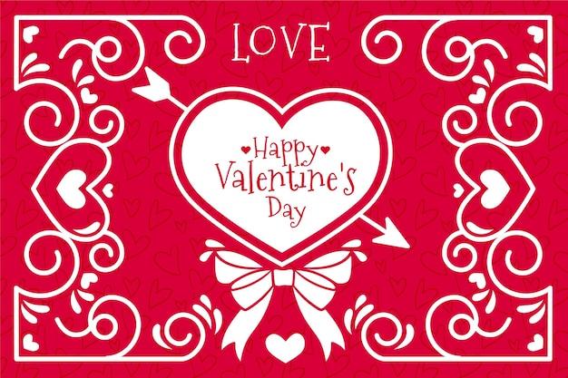 Valentijnsdag achtergrond met pijl en hart