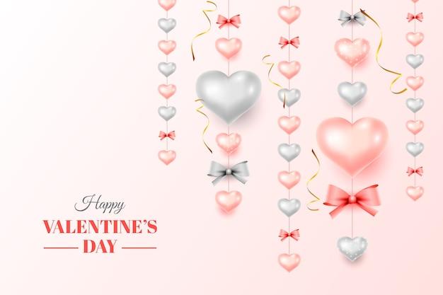 Valentijnsdag achtergrond met realistische decoratieve harten
