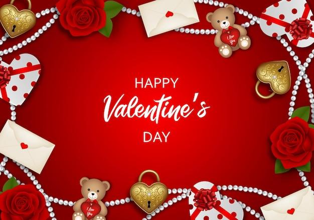 Valentijnsdag achtergrond met rode rozen, teddyberen, gouden hangsloten en geschenkdozen
