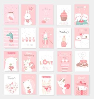 Valentijnsdag achtergrond met schattige baby dierlijk beeldverhaal