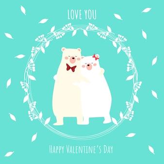 Valentijnsdag achtergrond met schattige ijsbeer paar.