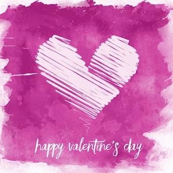 Valentijnsdag achtergrond met waterverf effect en gekrabbel hart