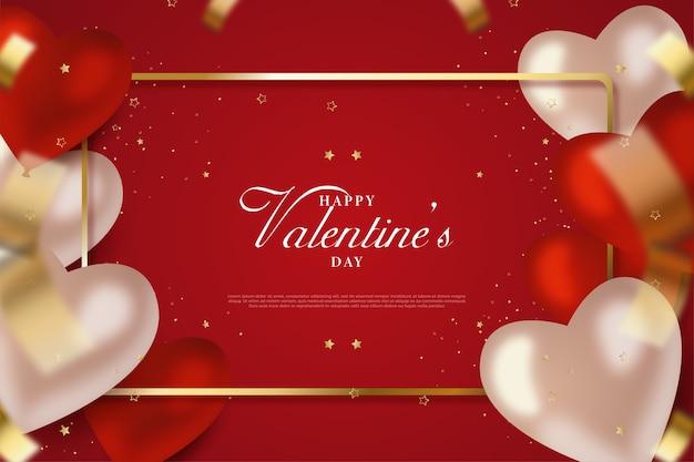 Valentijnsdag achtergrond met witte en rode liefde ballonnen.