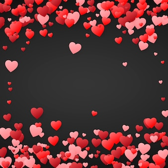 Valentijnsdag achtergrond. ontwerp illustratie voor bruiloft uitnodiging, valentijnsdag. harten confetti, romantische achtergrond. op donkere achtergrond