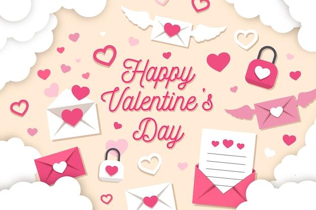 Valentijnsdag achtergrond papier stijl met enveloppen en harten
