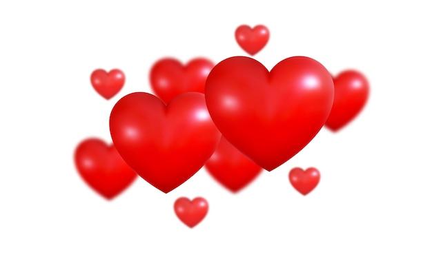 Valentijnsdag achtergrond. realistische 3d valentines rode harten