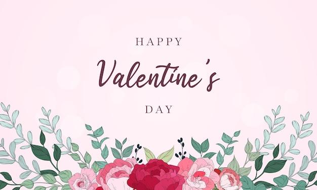 Valentijnsdag achtergrondontwerp met prachtige bloemen Premium Vector