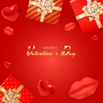 Valentijnsdag achtergrondontwerp met realistische lippen en harten, geschenkdoos.