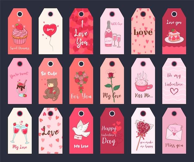 Valentijnsdag afdrukbare tags-collectie. feestelijke set stickers.