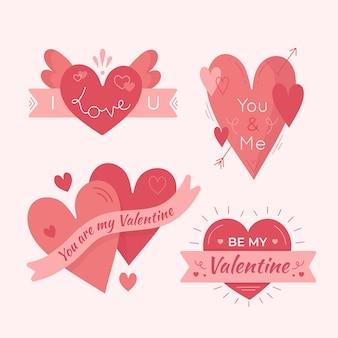 Valentijnsdag badge-collectie handgetekende