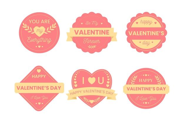 Valentijnsdag badge collectie in plat ontwerp