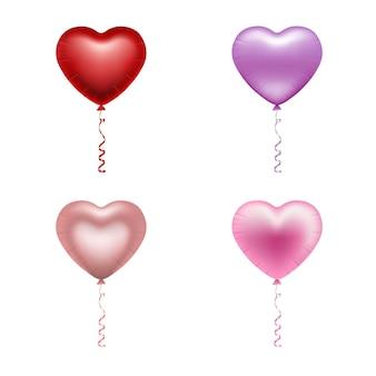 Valentijnsdag ballonnen. geïsoleerde hartvormige ballonnen