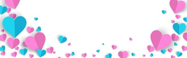 Valentijnsdag banner achtergrond verkoop promo met papier knippen stijl