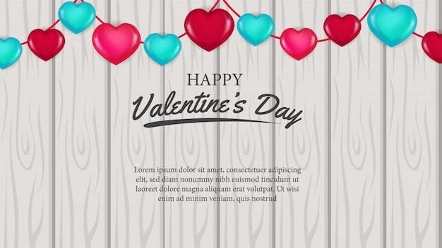 Valentijnsdag banner liefde op het hout