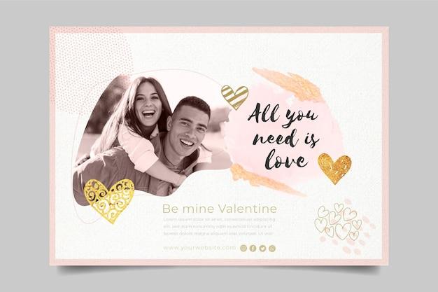 Valentijnsdag banner met fotosjabloon