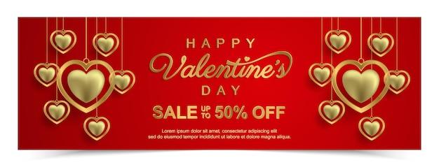 Valentijnsdag banner met goud mooi. promotie en shopping sjabloon Premium Vector