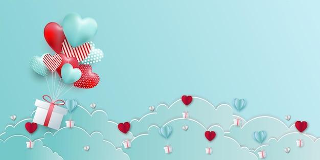 Valentijnsdag banner met hart ballon, cadeau en wolken. papier gesneden stijl.