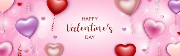 Valentijnsdag banner met hartvormige ballonnen en slingers