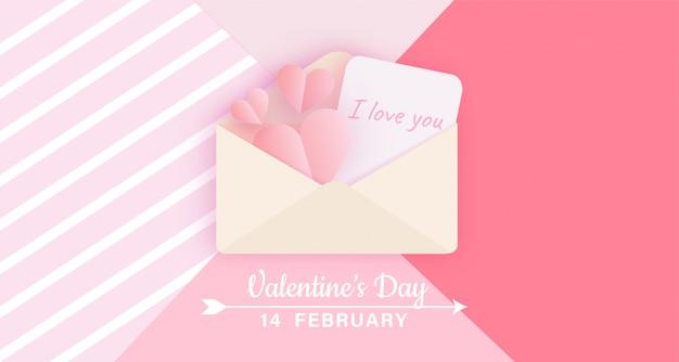 Valentijnsdag banner met liefdesbrief