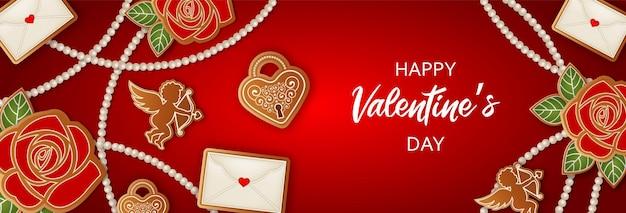 Valentijnsdag banner met peperkoek cookies