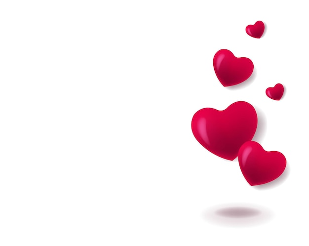 Valentijnsdag banner met rode harten witte achtergrond