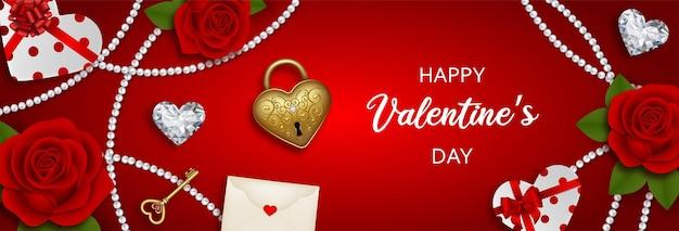 Valentijnsdag banner met rode rozen, diamanten en geschenkdozen