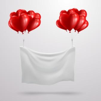 Valentijnsdag banner met rood hart ballon