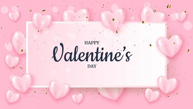Valentijnsdag banner met roze 3d liefde ballonnen.