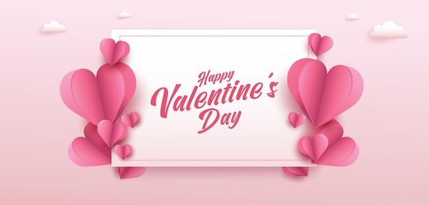 Valentijnsdag banner met veel zoete harten en op roze kleur achtergrond.