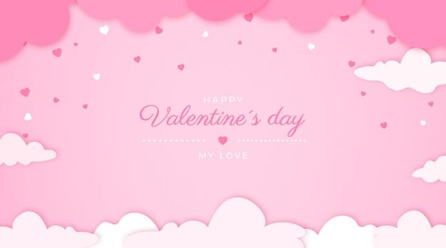 Valentijnsdag banner op papierstijl