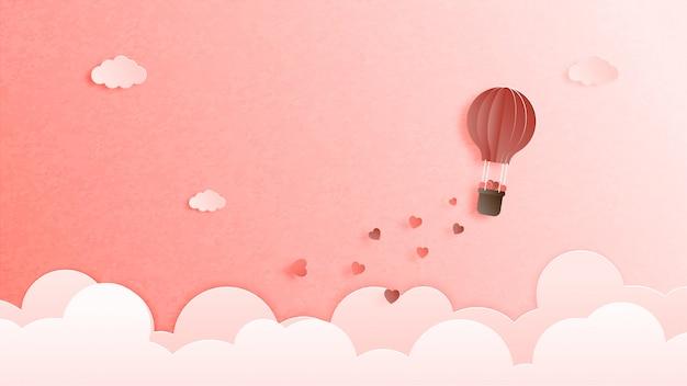 Valentijnsdag banner, poster, wenskaart in papier gesneden stijl.