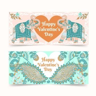 Valentijnsdag banners hand getrokken