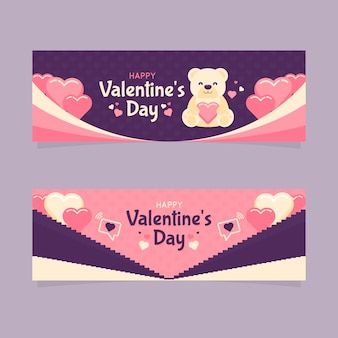 Valentijnsdag banners in plat ontwerp