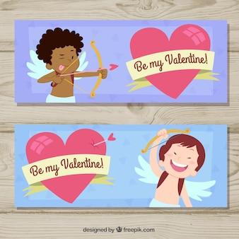 Valentijnsdag banners met engelen