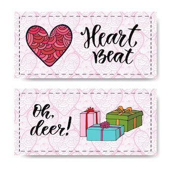 Valentijnsdag banners met geschenken en moderne kalligrafie. hartslag. vector ontwerpsjablonen