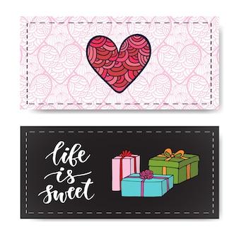 Valentijnsdag banners met geschenken en moderne kalligrafie