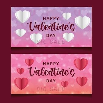Valentijnsdag banners met hartjes en grote verkoopaankondiging.
