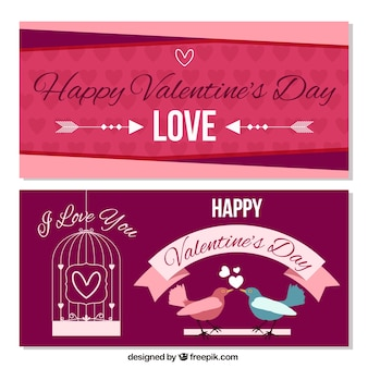 Valentijnsdag banners met hartjes en vogels