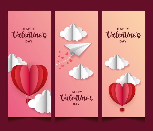Valentijnsdag banners met hete ballonnen in de lucht en papier vliegtuig.