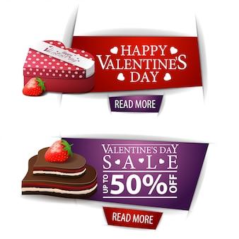 Valentijnsdag banners met knoppen, geschenken en chocoladesuikergoed