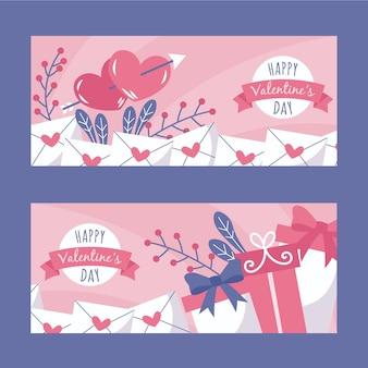 Valentijnsdag banners set