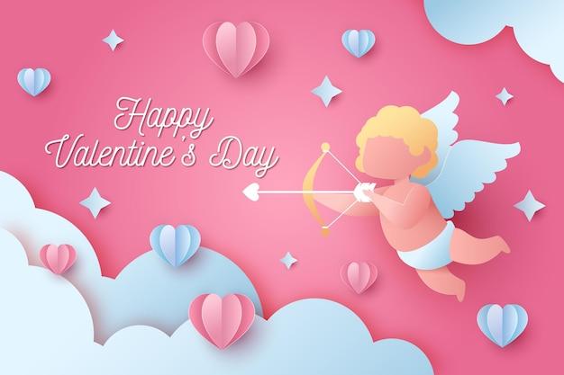 Valentijnsdag behang in papieren stijl