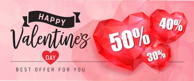 Valentijnsdag belettering met robijnrode harten